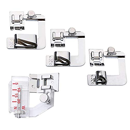 Aunifun 3 PCS Rolled Hem Pressure Foot Sewing Machine Presser Foot Hemmer Foot Set (1/2 Inch, 3/4 Inch, 1 Inch) and 1 PCS Snap-on Adjustable Bias Binder Foot Fit for Most Low Shank Sewing Machines