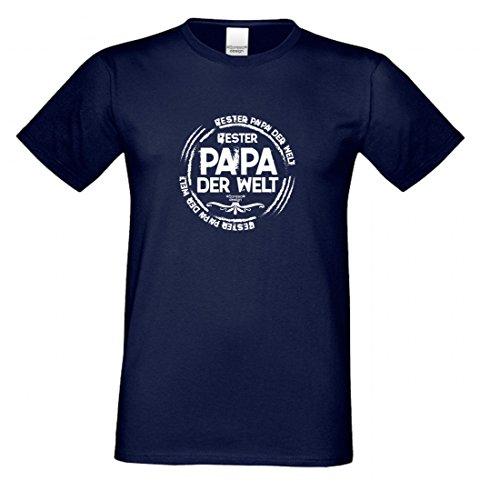 T-Shirt als Geschenk für den Vater - Bester Papa der Welt - Ein Danke für den Papa mit Humor zum Vatertag oder einfach so, Größe L Farbe 05-Navy