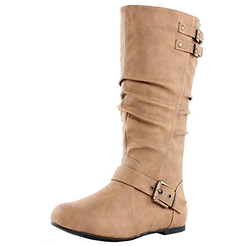 Mid High Flat Boot - TOP Moda Night-76 Women's Slouched Under Knee High Flat Boots, Taupe 10