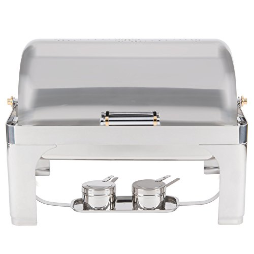 Vollrath 46080 9 Qt. New York, New York Roll Top Chafer Full Size with Brass (New York Chafer)