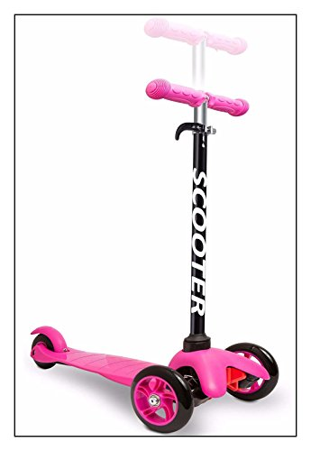 OxGord Scooter for Kids - Deluxe Aluminum 3 Wheel Glider with Kick n Go, Lean 2 Turn, Step 4 Break - Pink