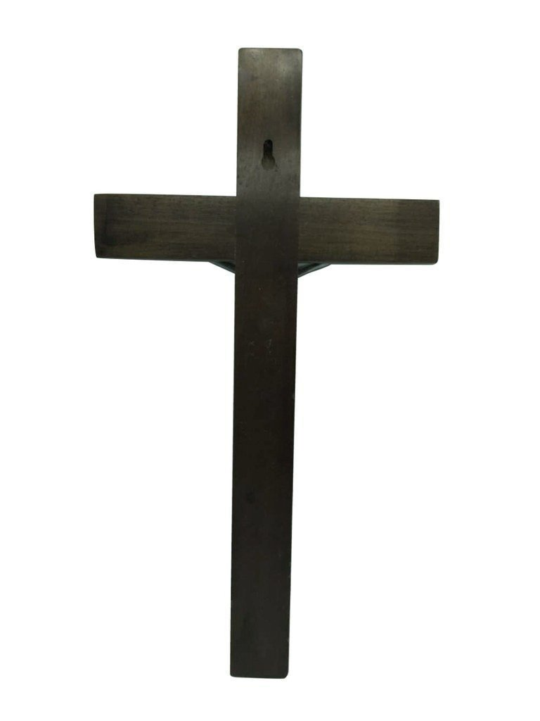 13.9 Inch PuJiang FengMing 6166181 FengMicon Large Oak Wooden Cross for Wall with Crucifix