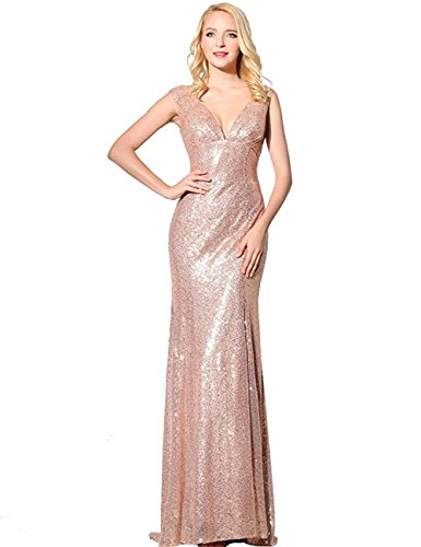 JINGDRESS Sequins Evening Dresses Long Prom Bridesmaid Gowns Sleeveless Vneck Pink 8 by JINGDRESS