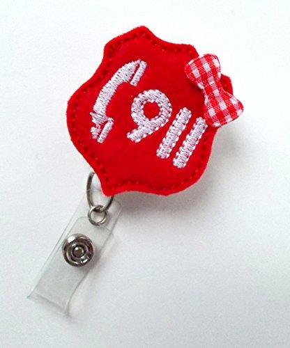- Call 911 - Retractable Badge Reel - Name Badge Holder - Police Dispatcher Badge Holder - EMT Badge - Felt Badge - Emergency Management Badge