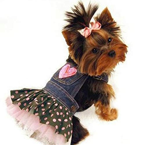 Jim-Hugh Dog Denim Dresses Jeans Skirt Summer Small Dogs Dress Puppy Clothes Chihuahua Yorkies Poodle Pet Clothing ()