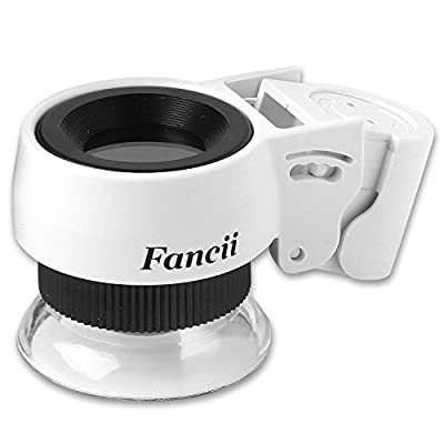 Fancii LED Illuminated Professional 30X Triplet Jewelers Loupe Magnifier with Lighted Stand and UV Black Light