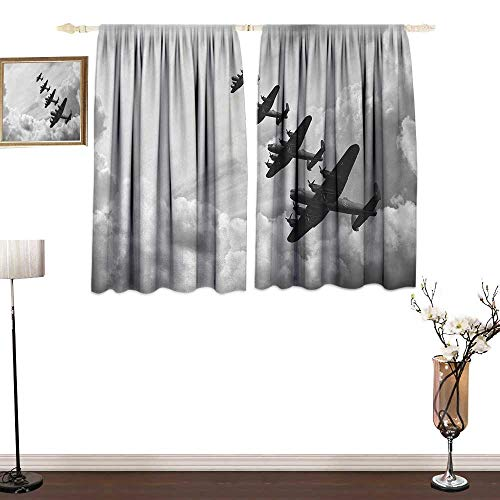 (Genhequnan Airplane, Window Curtain Drape, Retro Image of Lancaster Bomber Jets from Battle Royal Air Force in Clouds Plane, for Bedroom, W55 x L63 Inches, Black White)