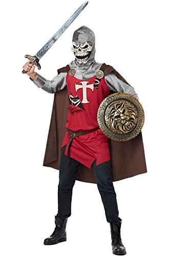 California Costumes Men's Skull Knight Adult, Burgundy/Brown, X-Large (Mens Crusader Knight Costume)