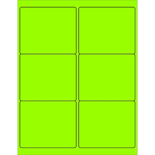 Tape Logic LL180GN Rectangle Laser Labels 4 x 3 1/3 Fluorescent Green (Pack of 600) by Tape Logic