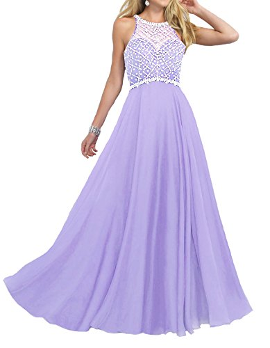 Firose Women's Scoop Neckline Beaded Long Chiffon Prom Dresses For 2018 Lavender US20W