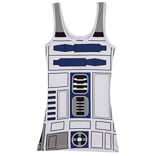 Star Wars I Am R2D2 Juniors Costume Tank Top - White (Junior's (Teen Nerds Tank Dress)