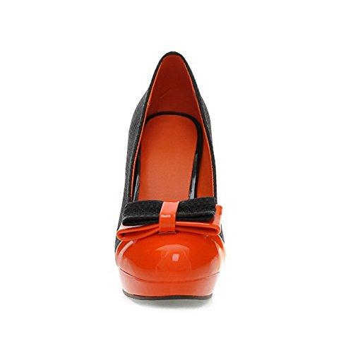 AllhqFashion Mujeres Dos tonos Tacón de aguja Puntera Redonda Cerrada De salón con Lazos Naranja