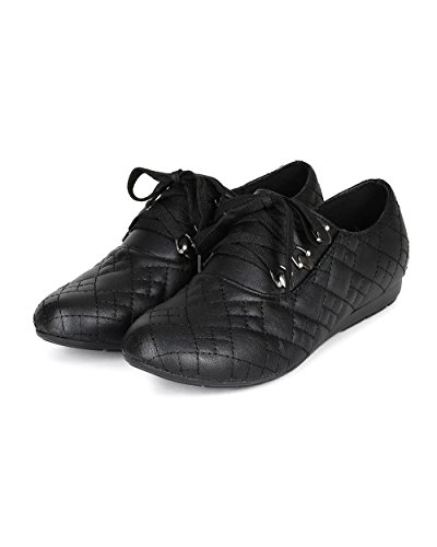 Natuur Wind Cc13 Dames Kunstleer Ronde Neus Gewatteerde Veter Sneaker Zwart Kunstleer