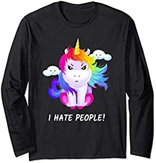 I hate people  Funny Unicorn Hate Humans Horse Long Sleeve T-shirt | Size S - 5XL