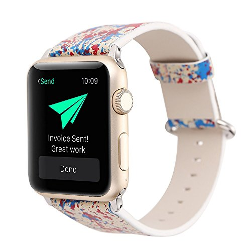 Sunbona for Apple Watch Bracelet Bands 42mm, Graffiti Leather Printing Durable Adjustable Bracelet Replacement Wrist Strap Women Men Gifts (Red) - Durable Printing