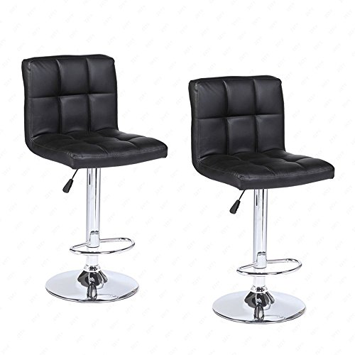 Mecor Adjustable Swivel Leather Bar Stools Hydraulic Counter Height Square Kitchen Dining Chairs with Chrome Base,Set of 2 (Black)