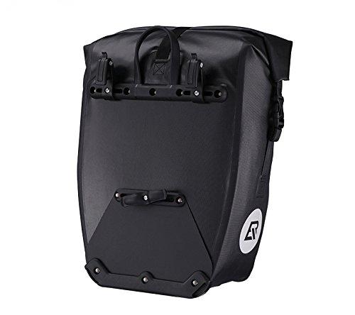 ROCKBROS Fahrrad Gepäckträgertasche mit Rollverschluss - Wasserdicht mit Gepäcknetz - inkl. GRATIS-Silikonarmband - Fassungsvermögen 27L - Radtasche Transporttasche Fahrrad Tasche Wasserfest Schwarz