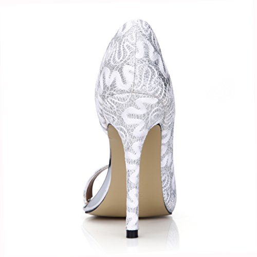 Glitter Sandal Heels Dress Pump Wedding Stiletto Women Open Toe Prom Party Dolphin Girl Shoes Prime Print Silver d3P4elcvT