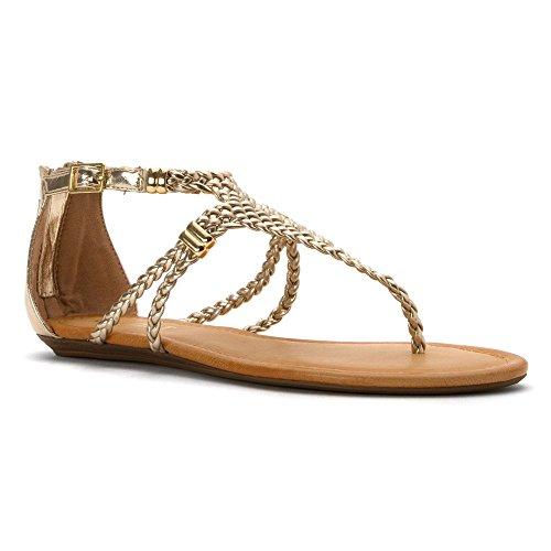 Gold Flat Women's Sandal LOLLA Report PqvUIq