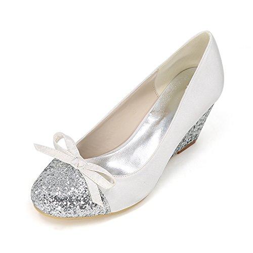 Ager Punta Wedges Da Per 11 Womens Prom Taglia Low White Flower 9140 Sandali Chiusa Glitter Mid In Raso Sposa Ladies Feste qdC4WO