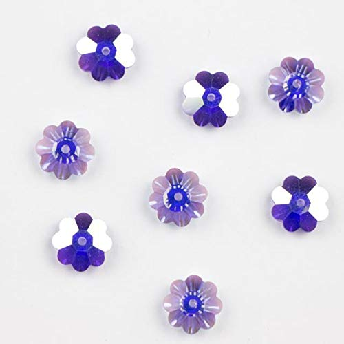 6 pcs - Swarovski Elements #3700 6mm Crystal Flower Margarita Beads Tanzanite AB