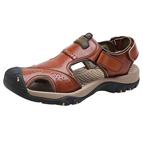 LINNUO Men's Fisherman Water Sandals Adjustable Closed-Toe Casual Athletic Outdoor Boat Flat Shoes for Beach Outdoor Trekking Brown