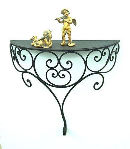 Shelf Console ''Ambiente'' XL made from metal 45 cm x 42 cm Black Iron by Ambiente Haus