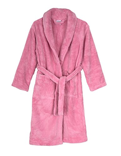 TowelSelections Little Girls' Robe, Kids Plush Shawl Fleece Bathrobe Size 6 Pink -