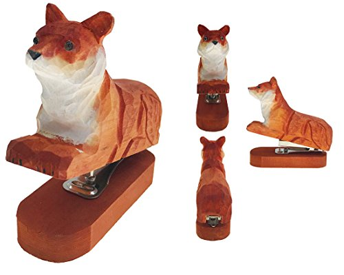 Vivid Handmade Wood Carving Cartoon Mini Animal Stapler for School Office Stationery Children Christmas Gift(Fox) by Alrsodl