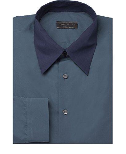 Prada Men's Contrasting Pointed Collar Cotton Dress Shirt Navy