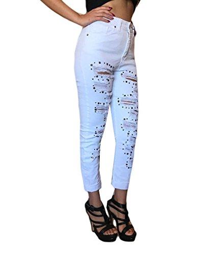 Borchie Taglia Hanny Deep Donna 40 Sport Look 42 Moda Bianco Strappati Jeans Comodi Alta Stile Vita pOaYwwUqP