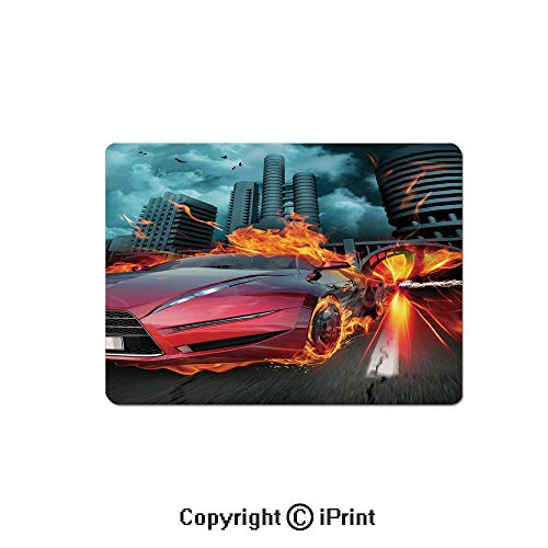 Oversized Mouse Pad,Hot Red Concept Car in Flames Blazing Tires Building and Birds Speeding Fast Decorative Gaming Keyboard Pad,9.8x11.8 inch Non-Slip Office Computer Desk Mat,Red Orange Blue