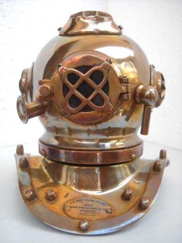 [Deep Diving Scuba Style Vintage Retro Mini Divers Helmet Costume Collectibles DIVERS DIVING HELMET] (Scuba Diver Costumes)
