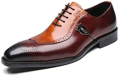Men/'s Handmade Brogue Oxfords Real Leather Dress Shoes Black Casual Party Shoes