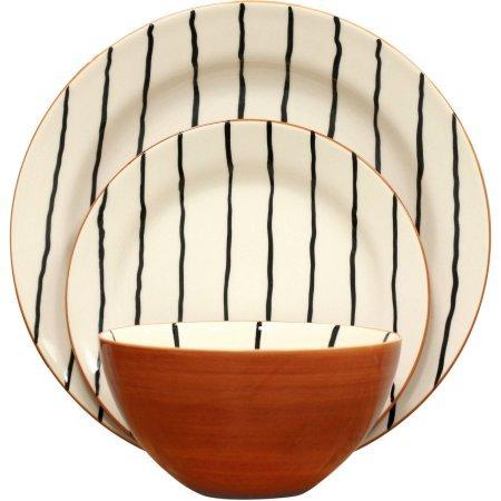 Better Homes and Gardens 12-Piece Sabin Striped Dinnerware Set, Set of 2
