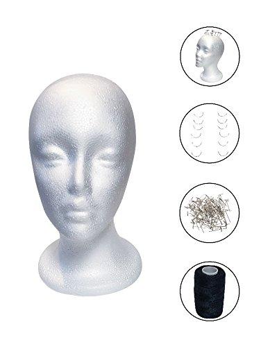 Female Face Styrofoam Mannequin Wig Head (Including T-Pins, Weaving Needles & Jumbo Black Weaving Thread) Wig Making & Display Foam Head -