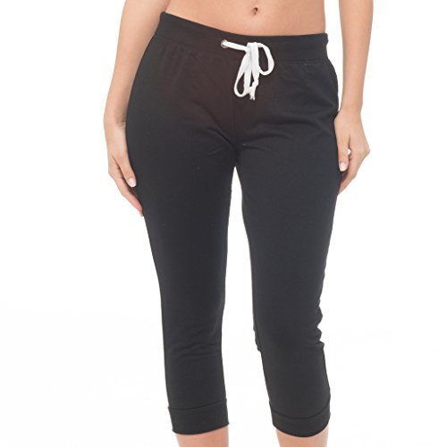 E165C-BK-M Coco-Limon Womens Jogger, French Terry Capri Cropped Sweatpant,Black,Medium (Pants Black Cropped Cuffed)