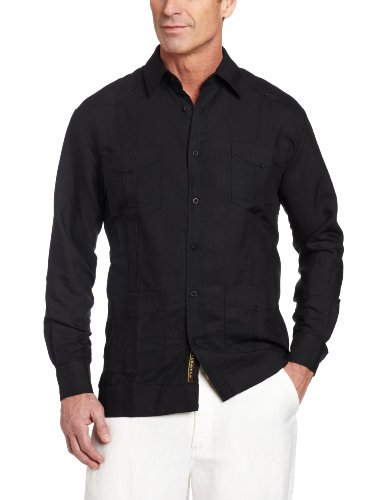 Cubavera Men's Long Sleeve Traditional Guayabera Shirt, Black, (Traditional Men Shirt)