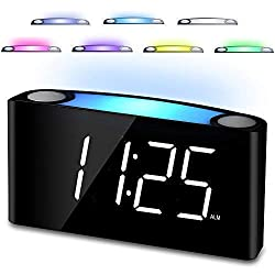 "Bedroom Alarm Clock, 7"" Digital LED Display & Slider Dimmer,12/24 H, 7 Colored Night Light, Loud Alarm, Big Snooze, Easy Set for Elderly Kids Heavy Sleepers,2 Cellphone USB Chargers for Travel Desk"