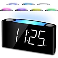Digital Alarm Clock for Bedrooms - 7 Colored Night Light, Large LED Digits with Full Dimmer, 2 USB Chargers, 12/24 Hour, Loud Alarm, Big Snooze, Easy to Set for Kids Elderly Heavy Sleepers, AC Power & Battery Backup for Home Kitchen Desk Shelf Office Travel (White)