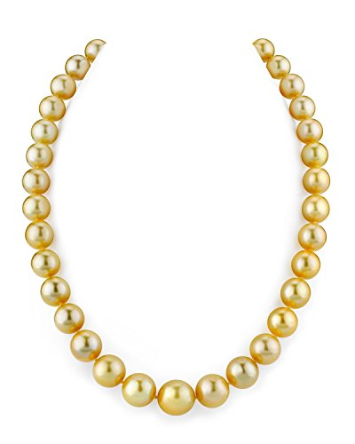 THE PEARL SOURCE 14K Gold 10-12mm Round Genuine Golden South Sea Cultured Pearl Necklace in 18