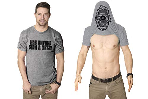 Has Anyone Seen A Yeti? Turn Into A Yet Flip T Shirt Awesome Costume Tee (Grey) M ()
