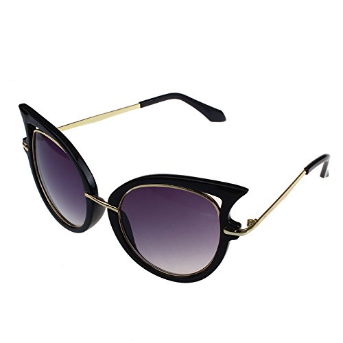 (Sannysis Retro Womens Metal Frame Golden Leg Cat Eyeglasses Sunglasses (Black))