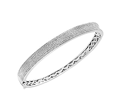 Effy Pav= Classica Collection Sterling Silver .97 ct. T.W. Diamond Bangle