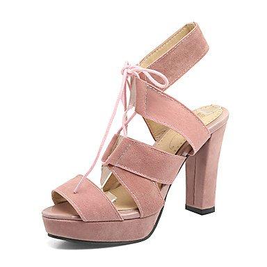 LvYuan Tacón Robusto-Talón Descubierto-Sandalias-Oficina y Trabajo Informal Vestido-Vellón-Negro Rosa Bermellón Almendra Pink