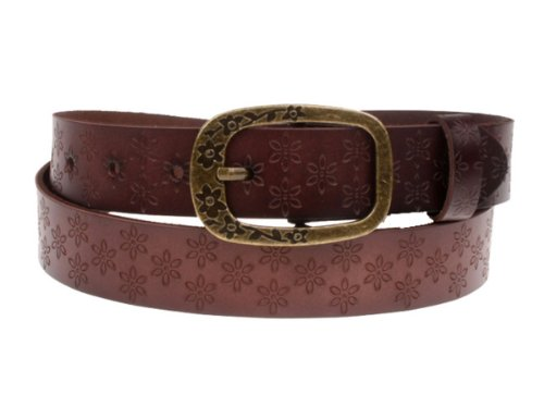 Herebuy - Vintage Leather Cowgirl Belt for Jeans Carved Desiger Belts (Coffee)
