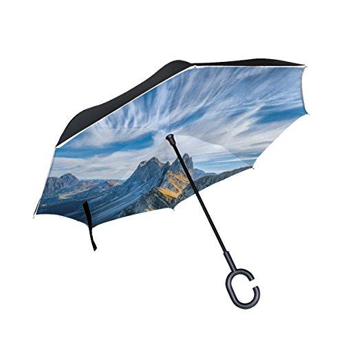 RH Studio Inverted Umbrella Italy Mountains Cliffs Large Double Layer Outdoor Rain Sun Car Reversible Umbrella by RH Studio
