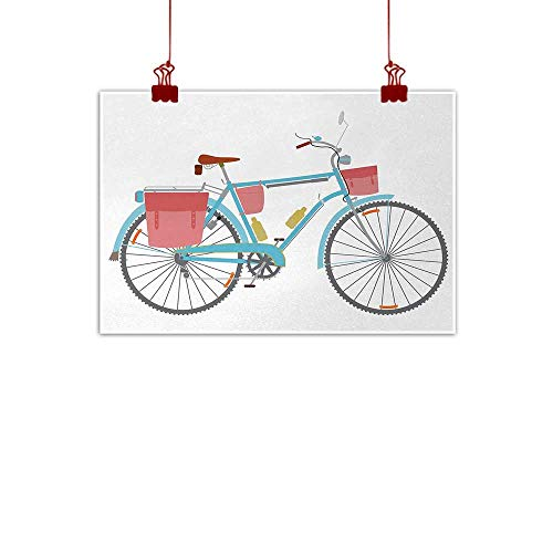 - Outdoor Nature Inspiration Poster Wilderness Bicycle,Classic Touring Bike with Derailleur and Saddlebags Healthy Active Lifestyle Travel,Multicolor 24