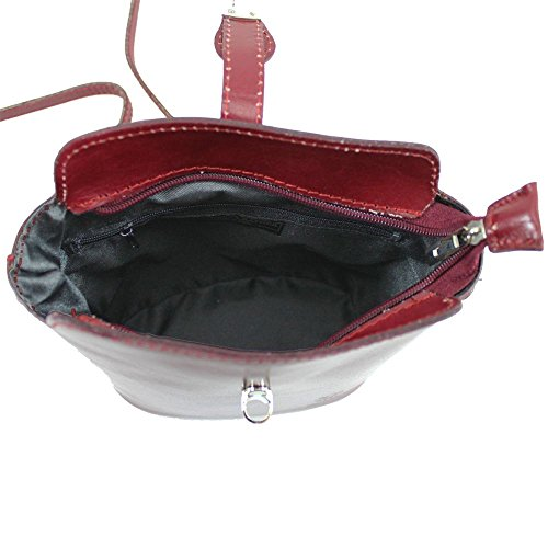 Cross Body Bag Women Pelle Vera Black Burgundy 4F7OPW