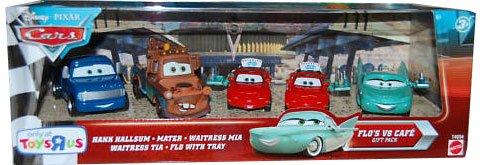 Disney / Pixar CARS Exclusive 155 Die Cast 5Pack Flos V8 Cafe Hank Hallsum, Waitress Mia Tia, Mater Flo wth Tray (Flos Cars Cafe Pixar V8)